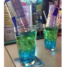 THE IRISH TRASH CAN  ½ oz. each: Vodka Gin Rum Peach Schnapps Blue Curacao Triple Sec  and a can of Red Bull