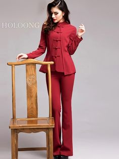 Wine red long-sleeved blouse Chinese cheongsam qipao tops Tang suit frog buckle Jackets - US $174.00