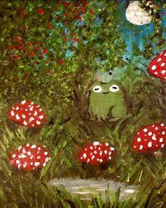 Pretty Art, Cute Art, Sweet Drawings, Apple Watch Wallpaper, Hippie Wallpaper, Frog Art, Mushroom Art, Cute Frogs, Frog And Toad