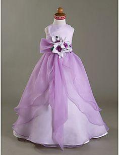 Flower Girl Dress Floor-length Satin/Organza A-line/Princess... – USD $ 39.99