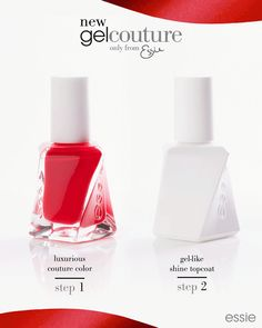 Experience the luxury of couture with the new gel couture only from essie. Slip into salon perfection for up to 14 days of luxurious wear andf instant gel-like shine in an easy 2-step system.  step 1: lust-worthy couture color. step 2: impeccable gel-like shine.  Get perfect color coverage with the unique swirl-stem brush. No lamp needed. Easy removal. This nail polish collection is available in 42 new shades.  Learn more at: http://www.essie.com/gelcouture