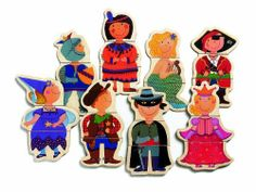 Djeco / Wooden Magnet Play Set, Dressed-Up Children by Djeco. $17.91. Get ready for imaginative mix and match fun with this beautiful set of wooden magnets.  The inspired graphics are applied through a thermal process rather than being painted on so they will not chip and flake away over time.  Designed in France, the colors and patterns are vibrant and unique!Because play is essential to a child's development, Djeco creates toy collections that are always entertaining, educati...