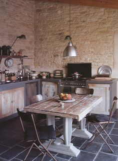 stone walls....plus the rustic cabinet doors oh... and the floor... and the table....