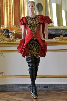 """Alexander McQueen Fall 2010. """"I relate more to that cold, austere asceticism of the Flemish masters, and I also love the macabre thing you see in Tudor and Jacobean portraiture.""""--McQueen"""