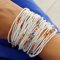 NonaDesigns shared a new photo on Etsy Seed Bead Bracelets Diy, Fabric Bracelets, Beaded Bracelets Tutorial, Beaded Wrap Bracelets, Seed Bead Necklace, Seed Bead Jewelry, Handmade Bracelets, Seed Beads, Beaded Jewelry