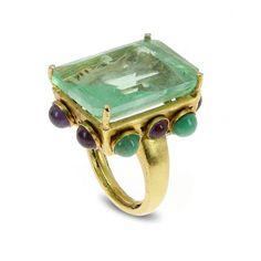 Bounkit Fluorite, Amethyst  Emerald Ring