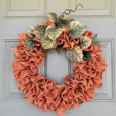 Burlap Pumpkins, Fall Pumpkins, Deco Mesh Wreaths, Fall Wreaths, Pumpkin Wreath, Fall Candles, Burlap Fabric, Welcome Wreath, Hydrangea Flower