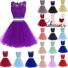 Stock Lace Appliques 2 Pieces Short Party Prom Gowns Bridesmaid Homecoming Dress