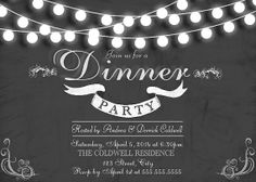 Dinner Party, Rehearsal Dinner Invitation-- Digital Download, or Printed Option