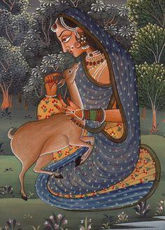 ragamala painting | ... PAINTING-Indian-Rajasthani-Ethnic-HANDMADE-Ragamala-Art-190768499383-2