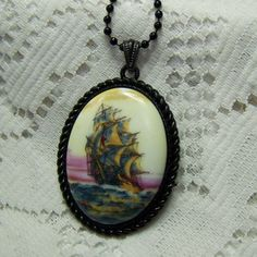 Schooner Windjammer Sunset Sail Cameo pendant - Montague Dawson - The Derwent Clipper Ship Black Rope Pendant, Nautical Tall Ship Necklace by SouthernBelleOOAK on Etsy