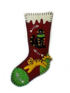 8″ Open Wool Felt Applique Stocking Ornament with Two Kitty Cats | Little Handcrafts