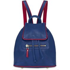 Rose Hovord - Bertie Backpack In Blue Hide & Red Nappa Trim ($320) ❤ liked on Polyvore featuring bags, backpacks, print backpacks, blue backpack, drawstring flap backpack, blue leather backpack and leather strap backpack