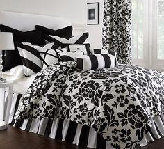 PRESCOTT 6PC BLACK AND WHITE COMFORTER SET *NEW* BY COTE COUTURE