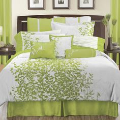 Lime Green Bedding, Neon Green Comforter Sets & Quilts: The Home Decorating Company Lime Green Bedding, Green Comforter, White Bedding, Brown Bedding, Bedroom Green, Green Rooms, Bedroom Decor, Bedroom Ideas, Master Bedroom