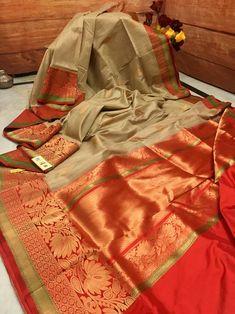 Deep Taupe & Red Color Combination Pure Tussar Banarasi Saree