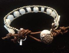 #leather and #aquamarine #boho #bracelet by #myfascinationstreet