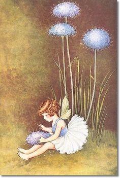 Ida Rentoul Outhwaite - Juvenile Nursery Rhymes Rhyme  Prints - Fairy Tales - Fairies - Fairy Print - by Ida Rentoul Outhwaite - Blue Pin Cushion Painting