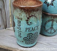 IMAGINE PEACE Earth Friendly Ceramic Travel Mug with Lid and Crop Circles in…