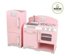 KidKraft Retro Kitchen and Refrigerator revives classic kitchen style in a kid's set. The perfect place to cook up some fun! This KidKraft Retro Ki. Pink Play Kitchen, Retro Pink Kitchens, Toy Kitchen, Wooden Kitchen, Vintage Kitchen, Play Kitchens, Kitchen Stove, Kitchen Playsets, Colors