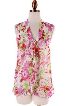 White Floral Front-Tie Sheer Top - Kelly's Closet