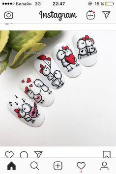 Nail Art Designs Videos, Fall Nail Art Designs, Acrylic Nail Designs, Nail Drawing, Romantic Nails, Crazy Nail Art, Animal Nail Art, Valentine Nail Art, Nail Art Techniques