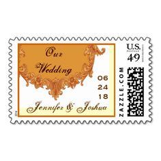 Orange Cream Chocolate Vintage Frame Wedding Stamp