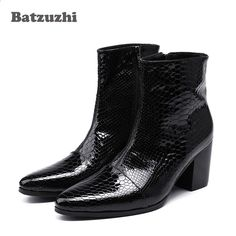37a4ee16d8 Batzuzhi 7CM vysoké podpatky Pánské boty Pointed Toe černé kožené boty  Pánské Pěkné kotníkové boty pro