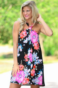 Knot Your Average Black Floral Print Dress at reddressboutique.com