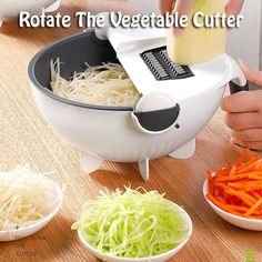 🔥 NEW Rotate The Vegetable Cutter ‼ ✅ You can use a different knife head according to your requirements, more convenient. ✅ Unique drainage features allow you to clean vegetables directly through the drainage system. - Rotate The Vegetable Cutter Cool Kitchen Gadgets, Home Gadgets, Cooking Gadgets, Kitchen Items, Kitchen Hacks, Cool Kitchens, Kitchen Dining, Kitchen Products, Cooking Tools