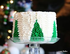 Christmas tree ruffle cake. Not a tutorial, just picture.