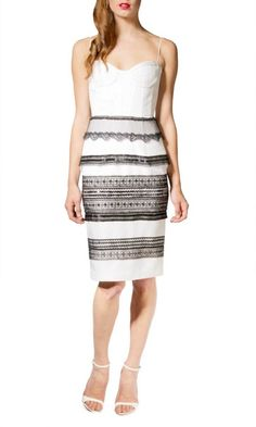 The Alex Perry Carla dress in classic black and white is the perfect piece for any special daytime or evening event. This elegant short dress features a fitted bodice with sweetheart neckline, spaghetti straps and tailored knee length pencil skirt. http://www.kangafashion.com/buy-alex-perry-carla-dress-online-in-australia/