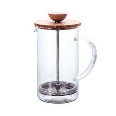 An elegant french-press style teapot made from tempered glass, stainless steel, and polished olive wood. From Hario, a Japanese company well known worldwide as a premium manufacturor of top-quality te