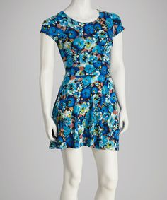Take a look at this Blue & Turquoise Floral Cap-Sleeve Dress by Sylvie & Mado on #zulily today! $19.99, regular 60.00