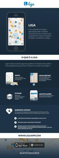 Lançado em parceria com o Catraca Livre, o aplicativo Liga cria uma rede social destinada a aumentar a segurança dos cidadãos.  Desenvolvida no Brasil, é uma plataforma colaborativa com um mapa de ocorrências como alagamentos, protestos,  assaltos,  vandalismo,  incêndio e  emergências  médicas ou acidentes de carro.