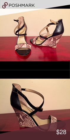 Ann Taylor Shoes Snake print genuine leather wedges! Shoes Wedges
