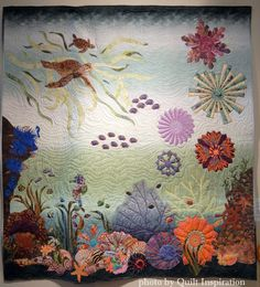 Dresden of the Sea by Diane E. Viewers' Choice Award, 2015 Springville (Utah) quilt show. Photo by Quilt Inspiration. Dresden Plate Patterns, Dresden Plate Quilts, Springville Utah, Turtle Quilt, Ocean Quilt, The Quilt Show, Landscape Quilts, Applique Quilts, Quilting Tutorials
