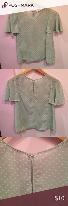 Elodie Sea-Foam Green Polka-Dot Top Sheer Ruffle Sleeve Top in color Dusty Mint. Size Medium, Never been worn. 100% Polyester. Style# EU3243. Elodie Tops Blouses