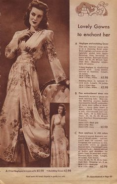 Peignoir (a gown to go over your negligee) from the 1943 Sears' Christmas catalogue. Available in blue or white rayon satin.