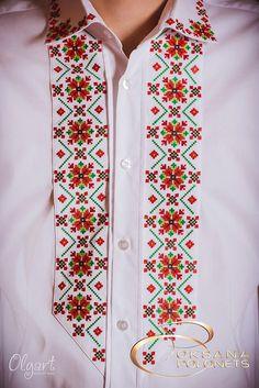 (3) Gallery.ru / Фото #1 - Українська вишивка. Сучасний вишитий одяг. - Markira Cross Stitch Art, Cross Stitch Borders, Cross Stitch Embroidery, Cross Stitch Patterns, Embroidery On Clothes, Embroidered Clothes, Afghan Clothes, Textile Patterns, Types Of Shirts