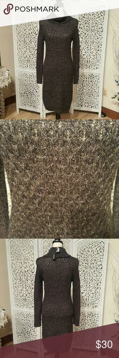 Charcoal Gray Sweater Dress Beautifully patterned sweater dress. Charcoal gray with bits of silver shiny thread throughout. Perfect for fall and winter! 67% acrylic, 26% nylon, 7% other fibers. Apt. 9 Dresses Long Sleeve