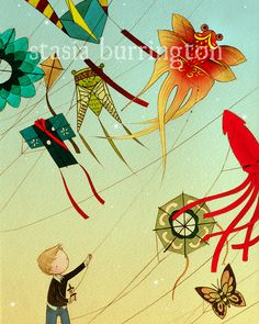 Kite Boy 16x20 Lustre Color Print  drawing watercolor by stasiab, $29.00
