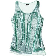 Mossimo® Women's Tank w/ Green Sequin Paillettes -Honeydew Green ($17) ❤ liked on Polyvore