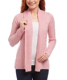 This Pink Nectar Turnback Collar Cable Open Cardigan by Jason Maxwell is perfect! #zulilyfinds