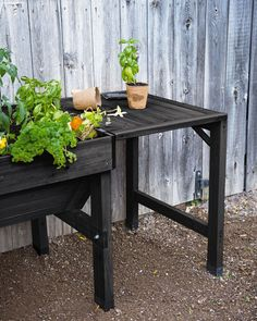 This convenient shelf for your VegTrug patio garden gives plenty of room for potting soil, tools, seedlings, watering can and more. Brick Wall Gardens, Raised Garden Bed Plans, Vertical Garden Wall, Budget Patio, Patio Makeover, Backyard Garden Design, Wooden Planters, Herbs Indoors, Small Gardens