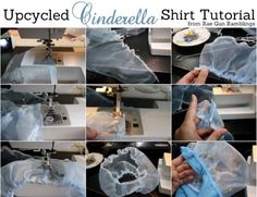 Step by step instructions on how to make a Cinderella top from a basic tank top from Rae Gun Ramblings Cinderella Costume Kids, Cinderella Dress For Girls, Diy Maxi Skirt, Diy Dress, Shirt Dress, Shirt Tutorial, Costume Shirts, 1st Birthday Girls, Easy Sewing Projects