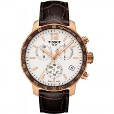 Tissot Quickster Men's Quartz Chronograph Silver Dial Watch with Brown Leather Strap Mens Watches Leather, Watches For Men, Men's Watches, Silver Watches, White Watches, Popular Watches, Jewelry Watches, Tissot Mens Watch, Gold And Silver Watch