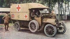 "scrapironflotilla: "" British ambulance, Motorization made possible the large-scale and relatively quick transport of the wounded to the medical staging area for the first time. Although for the length of the War only a fraction of ambulances. World War One, Second World, First World, Ww1 History, Military History, Colorized History, Ambulance, Triple Entente, Albert Kahn"
