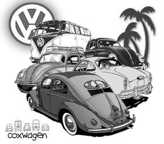 coxwagen Vw Bus, Vw Camper, Vw Tattoo, Carros Vw, Beetle Convertible, Vw Vintage, Combi Vw, Car Illustration, Car Drawings