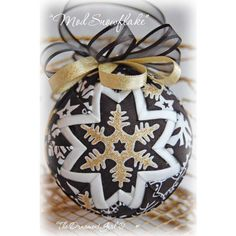 Black and Gold Snowflake Christmas Ornament - Photo